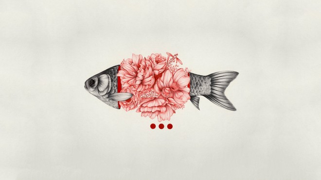 simple-background-fish-flowers-digital-art-minimalism-1080p-wallpaper